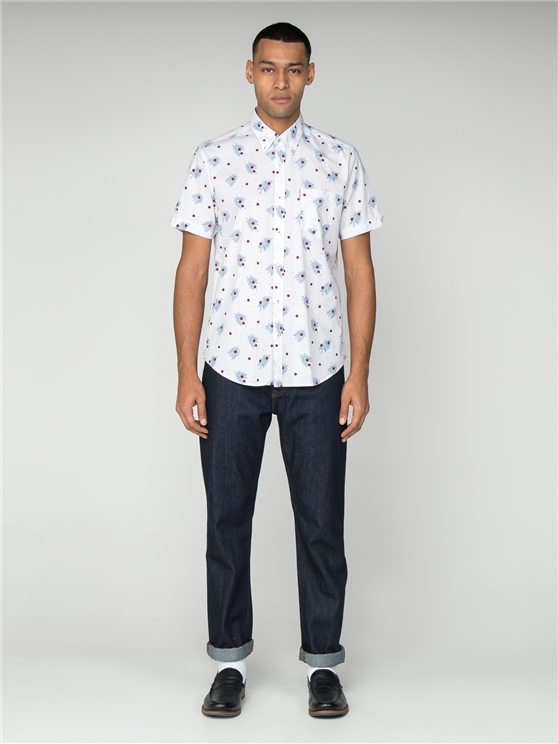 White & Blue Short Sleeved Palm Tree Shirt