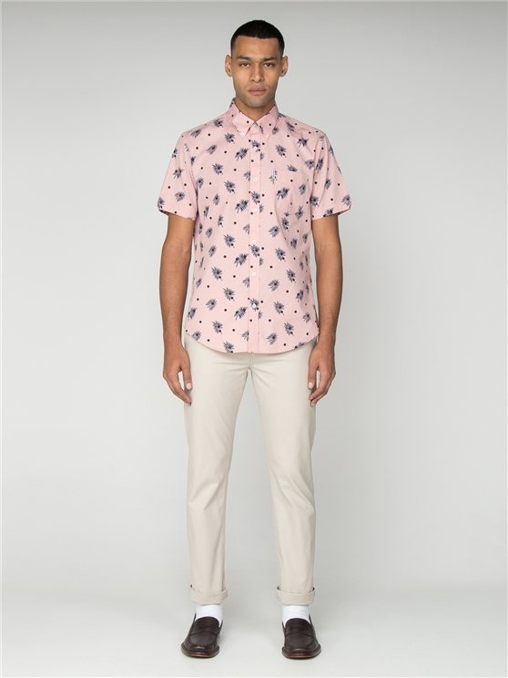 Short Sleeved Pink Palm Tree Print Shirt