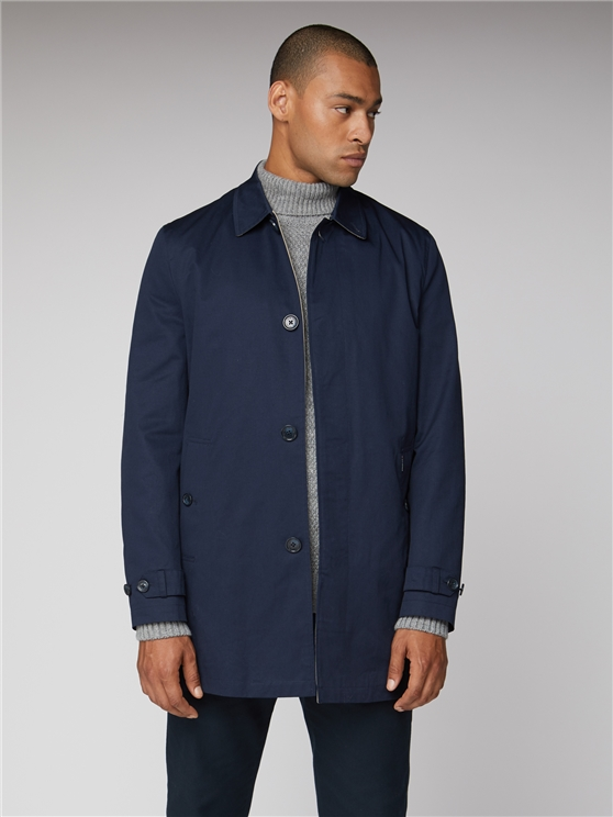 Navy Cotton Mac