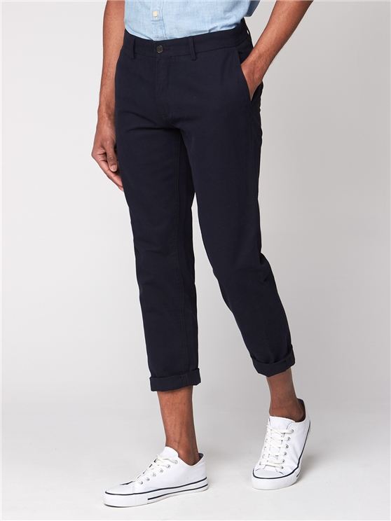 Navy Cropped Slim Trousers