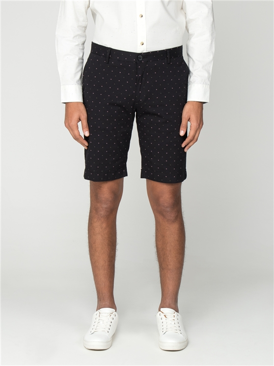 Black Printed Dobby Shorts