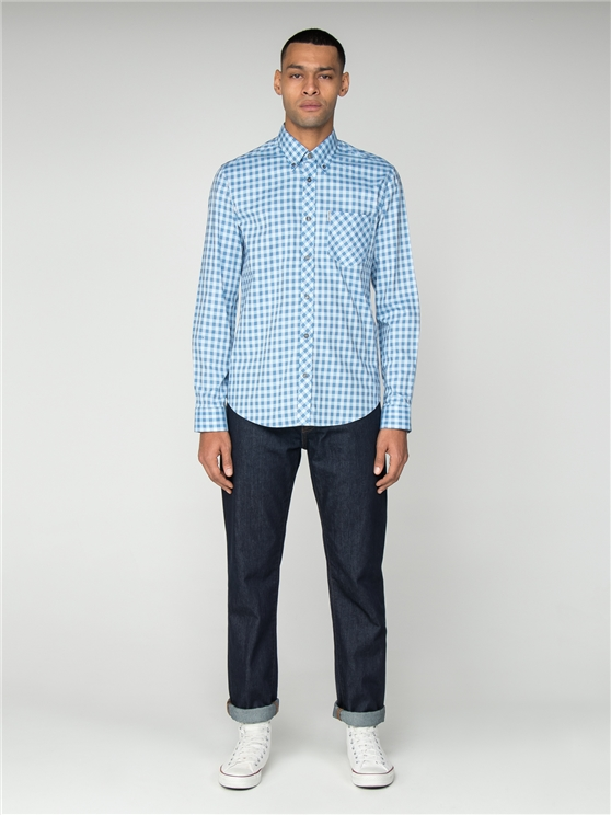 Men's Blue Satin Gingham Long Sleeved Shirt