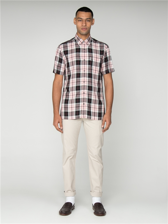 Pink & Black Short Sleeved Checked Shirt