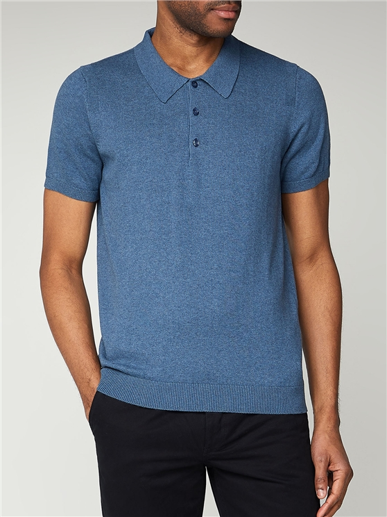 Blue Plain Knitted Polo