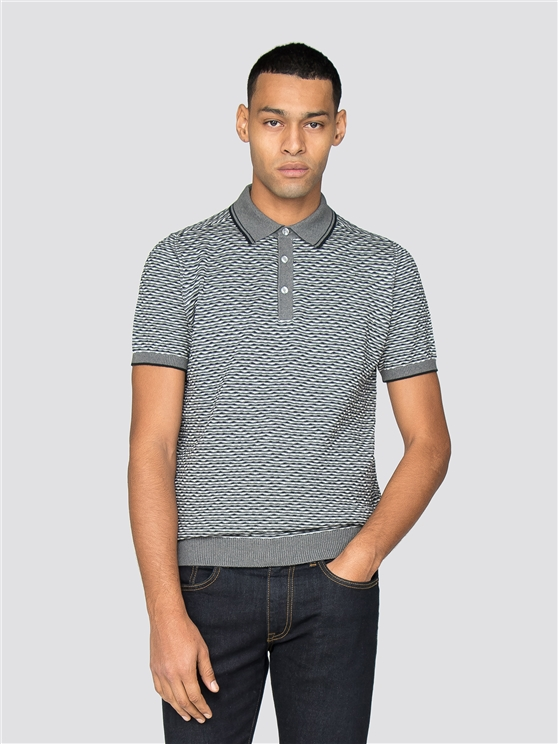 Grey Tonal Textured Polo Shirt