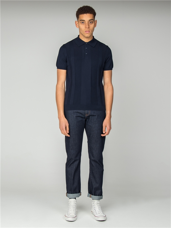 Navy Textured Stripe Front Polo