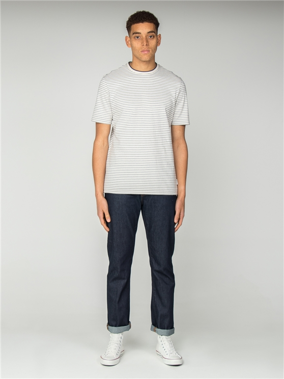 White Tonal Stripe Jersey Longline T-Shirt