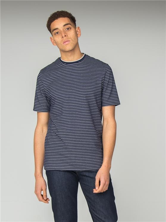 Navy Tonal Stripe Jersey Longline T-Shirt
