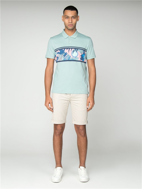 Blue Beach Print Polo Shirt