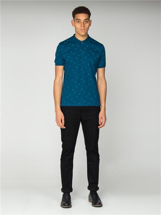Micro Geo Print Jersey Polo Shirt