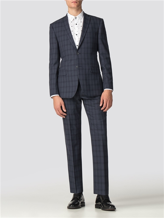 Navy Check Tailored Fit Suit Jacket