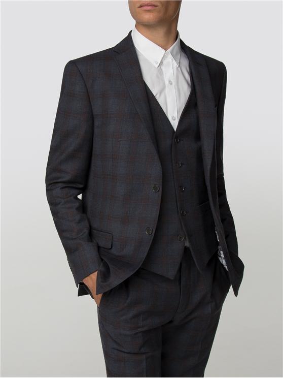 Navy Rust Check Slim Fit Suit Jacket