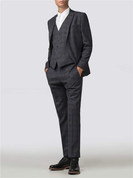 Navy Rust Check Slim Fit Suit