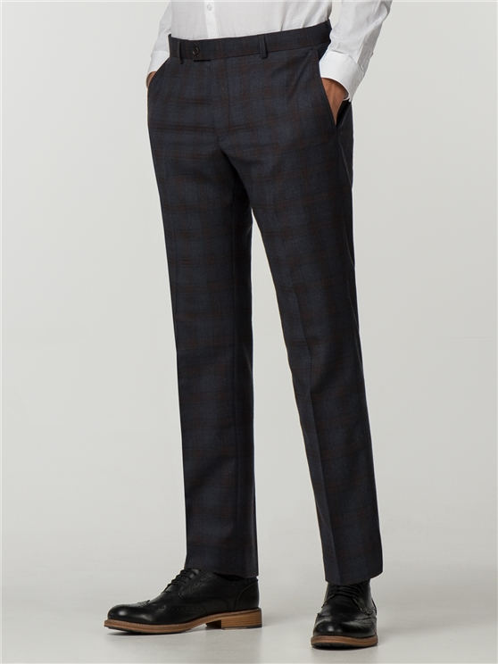 Navy Rust Check Slim Fit Suit Trouser