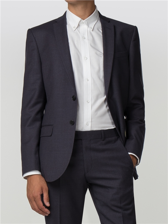 Navy Burgundy Micro Tailored Fit Jacket