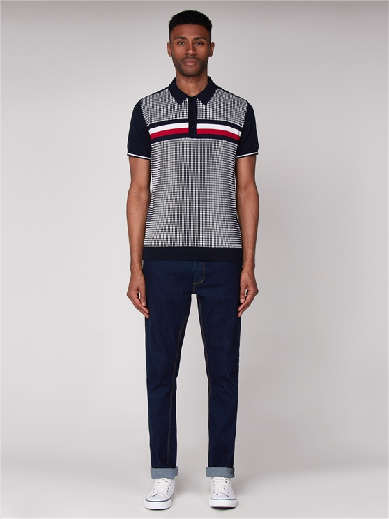 Textured Stripe Knit Polo