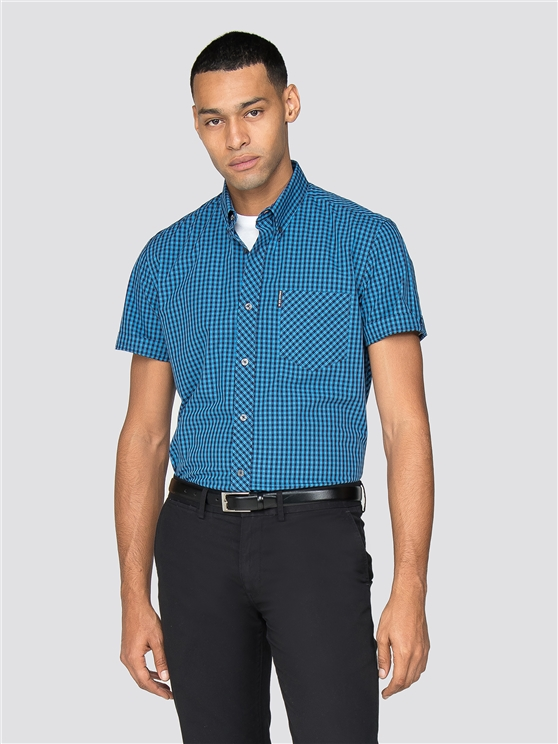 Blue Short Sleeve End On End Gingham Shirt
