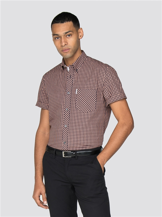 Orange Short Sleeve End On End Gingham Shirt