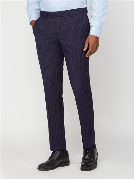 Navy Mini Check Skinny Trouser