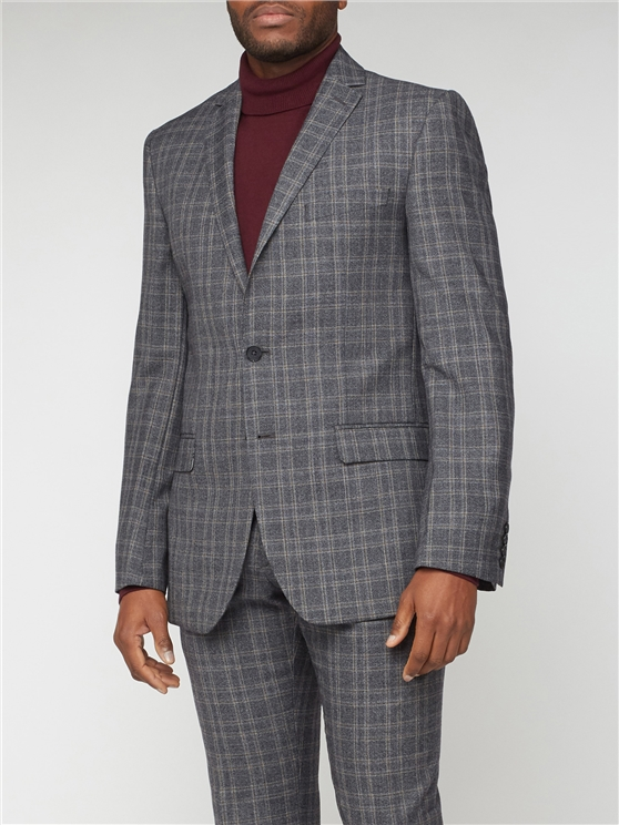 Grey Tan Overcheck Tailored Fit Suit