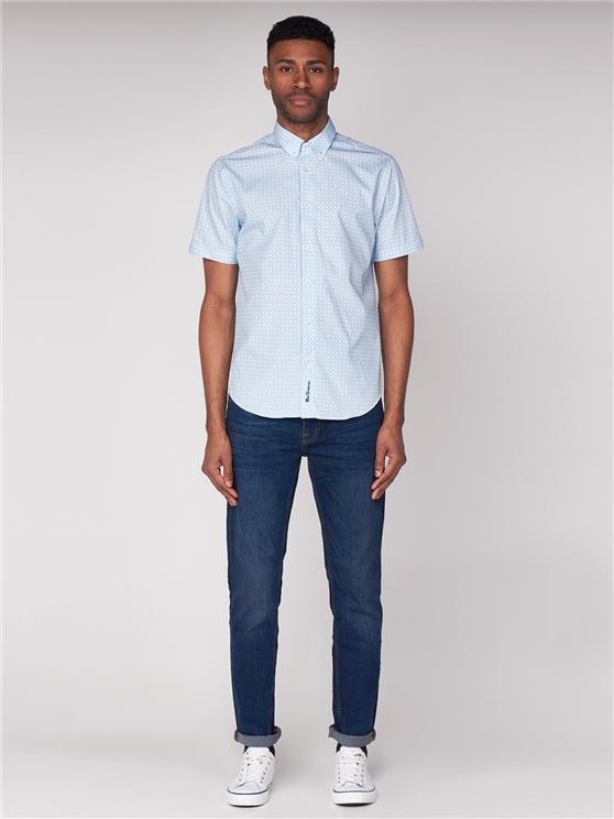 Short Sleeve Cheqerboard Spot Print Shirt