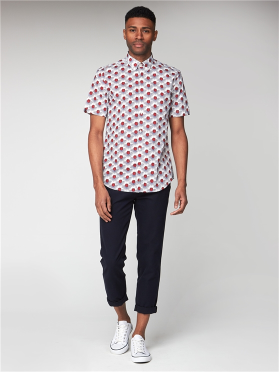 Short Sleeve Check Floral Shirt