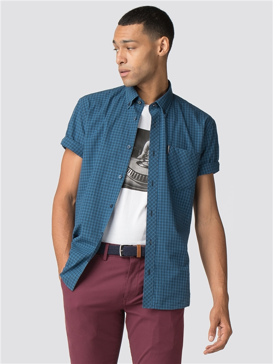 Short Sleeve Ombre Check Shirt