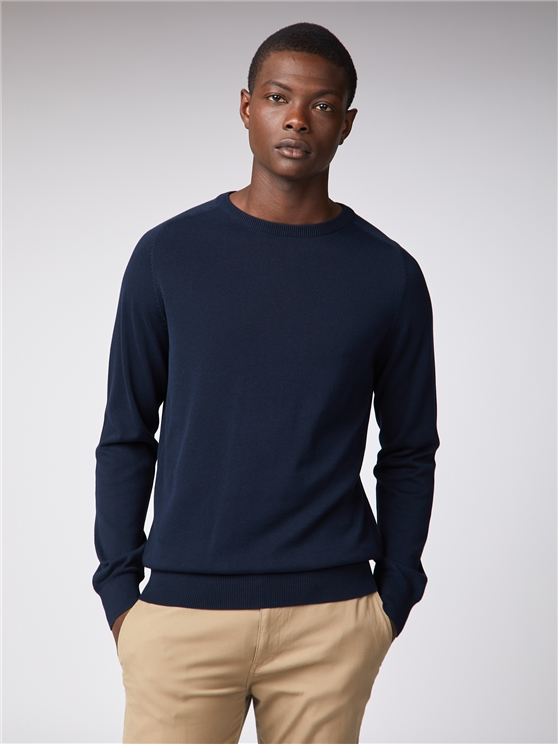 Navy Cotton Knitted Crew Neck