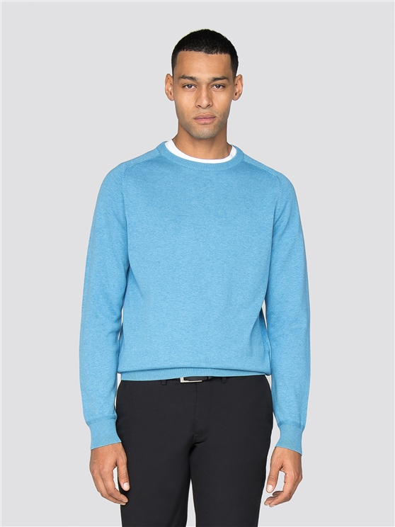 Blue Cotton Knitted Crew Neck Jumper