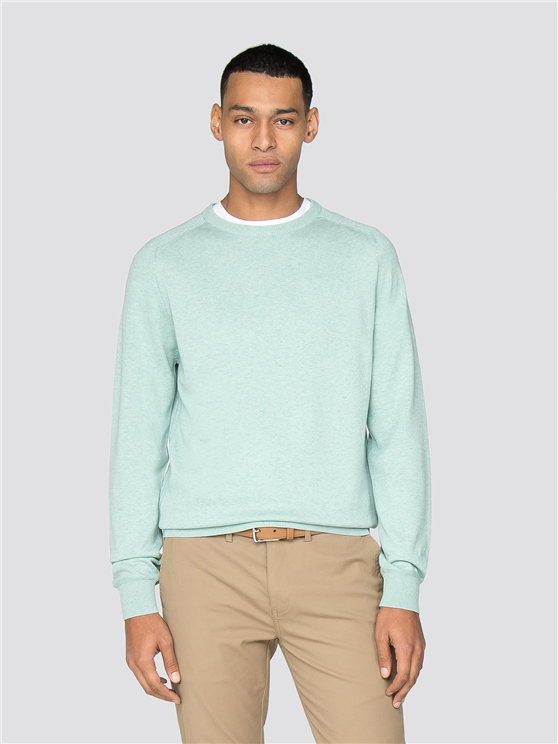 Sea Blue Cotton Knitted Crew Neck Jumper