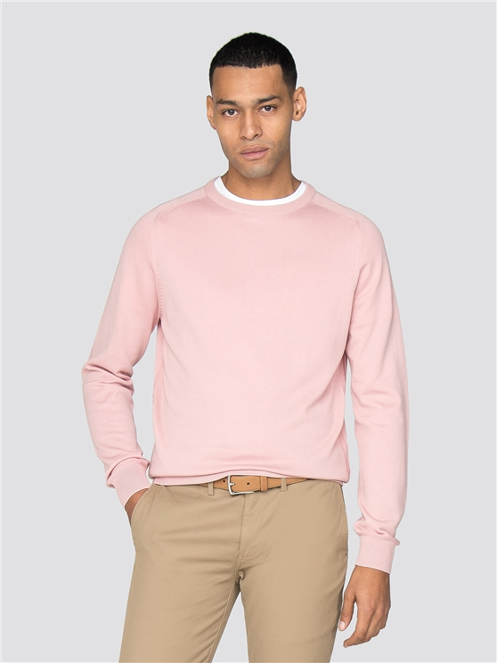 Pink Cotton Knitted Crew Neck Jumper