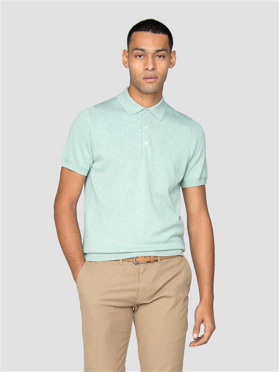 Sea Short Sleeve Knitted Polo Shirt