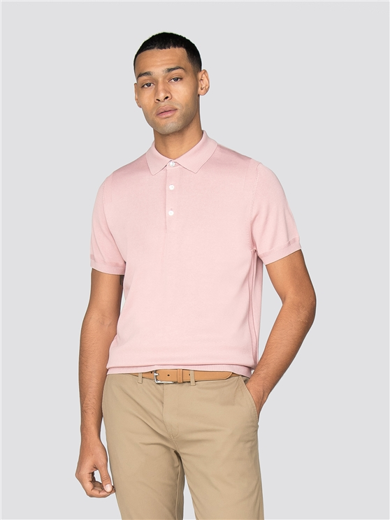 Light Pink Short Sleeve Knitted Polo Shirt