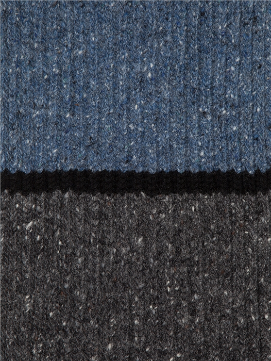 de85246a92322 Men's Knitted Striped Grey & Blue Scarf   Ben Sherman   Est 1963
