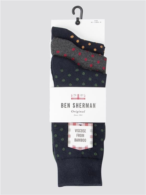 Dominicks Bar 3 Pack Spot Print Socks