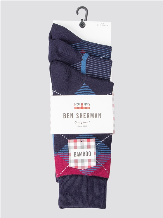 Zonda 3 Pack Diamond Print Socks