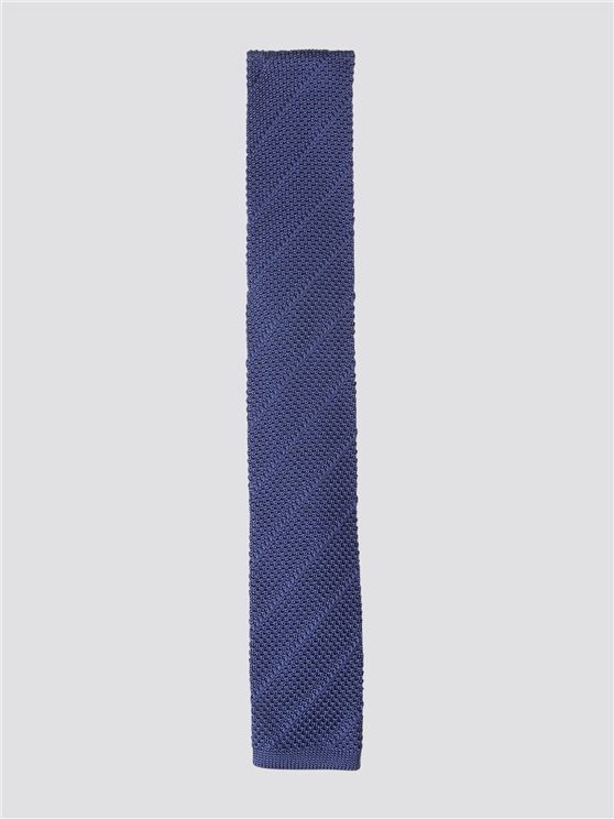 Navy Diagonal Striped Knitted Tie