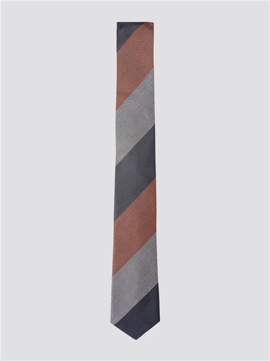 Brown Diagonal Striped Tie