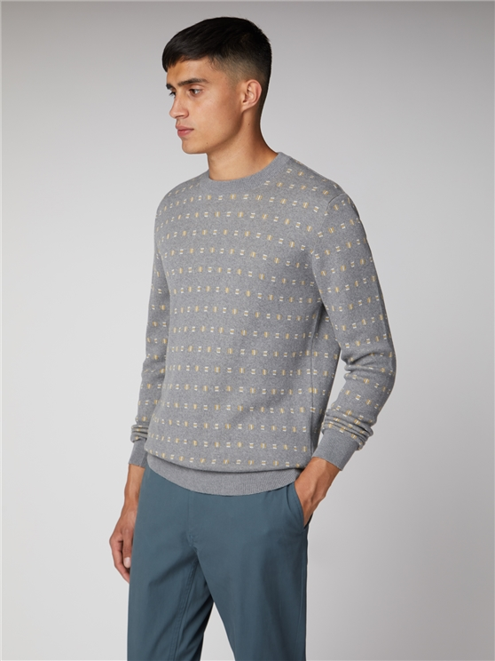 Geo Pattern Crew Neck Jumper