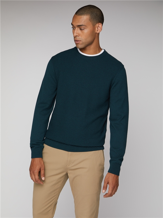 Textured Front Panel Crew Neck Jumper