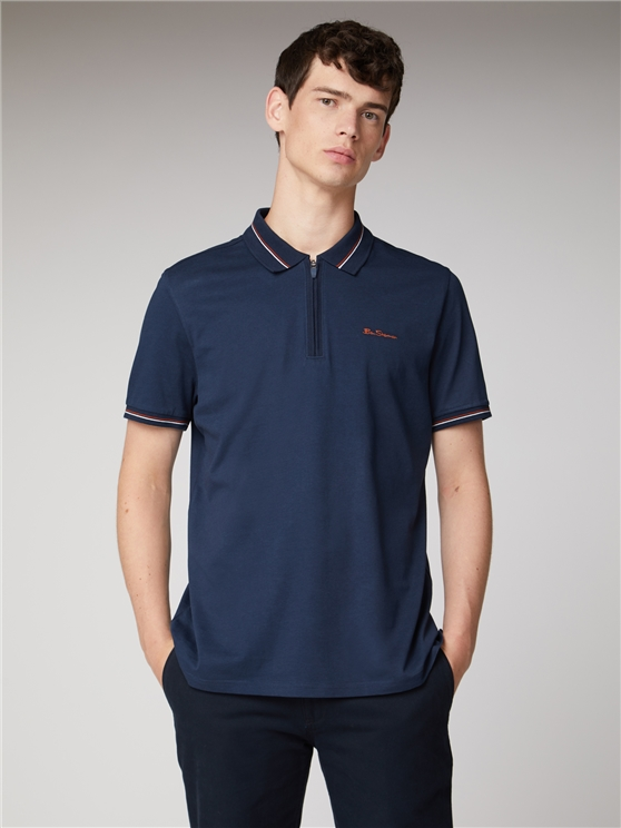 Tipped Zip Neck Polo