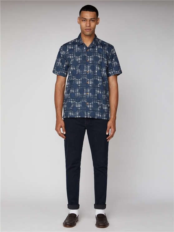 Short Sleeve Abstract Polka Check Shirt