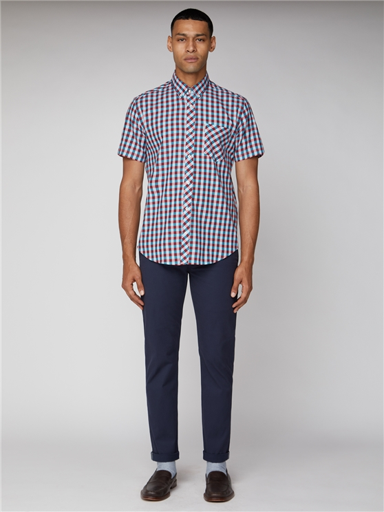 Short Sleeve Twill Gingham Shirt