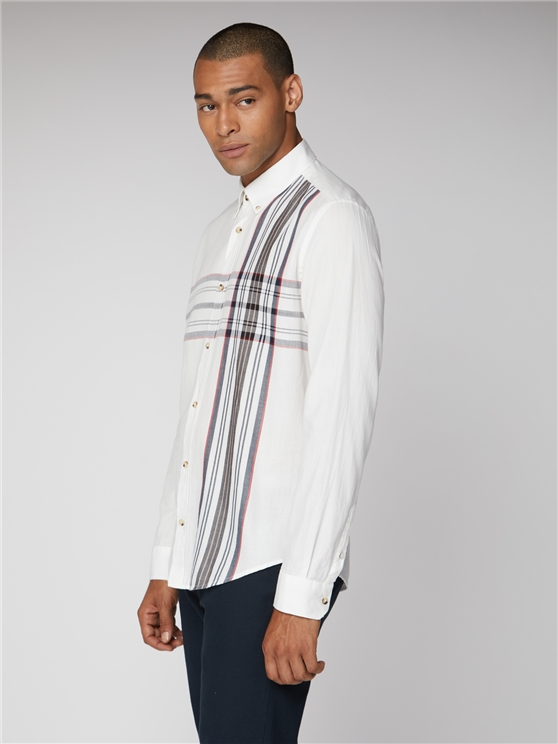 Long Sleeve Placed Stripe Shirt