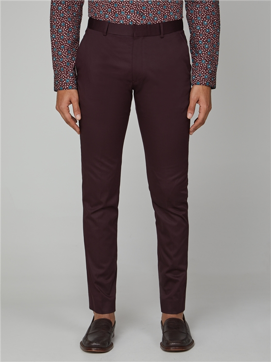 Burgundy Cotton Camden Trouser