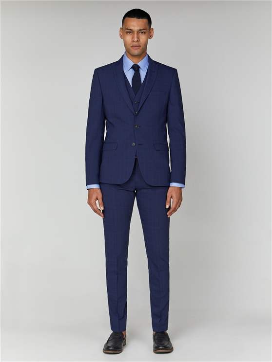 Sapphire Check Stretch Camden Three Piece Suit