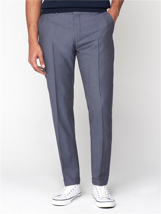 British Blue Micro Gingham Camden Trouser