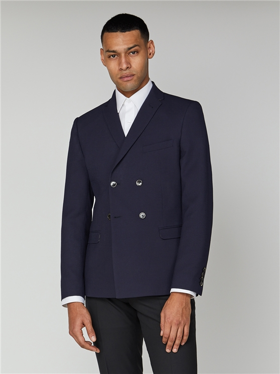 Navy Texture Double Breasted Jacket