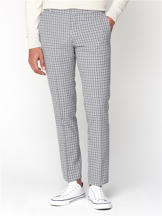 Navy Grey Gingham Camden Trouser