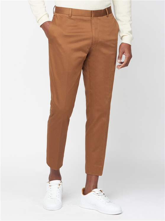 Tan Cotton Suit Trouser